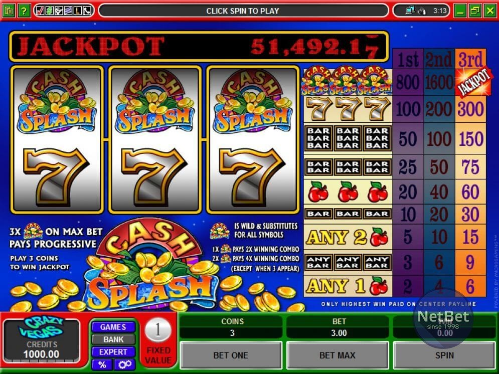 Cash Splash 3-reel Slot
